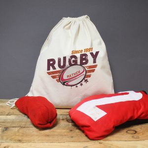 Personalised Rugby Drawstring Kit Bag