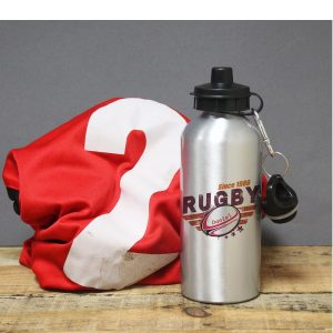 Personalised Rugby Silver Drinks Bottle