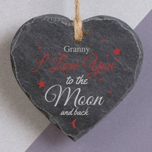 Personalised To The Moon & Back Slate Heart
