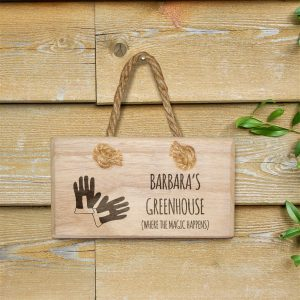 Personalised Where the Magic Happens Wooden Hanging Sign