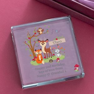 Personalised Woodland Jade Glass Block