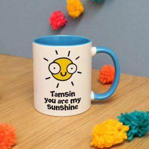 Personalised You Are My Sunshine Blue Inside Mug