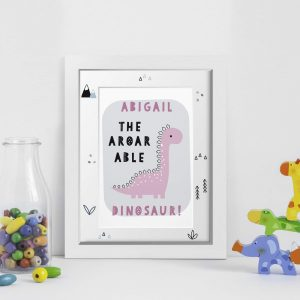 Personalised A-Roar-Able Dinosaur A4 Framed Print