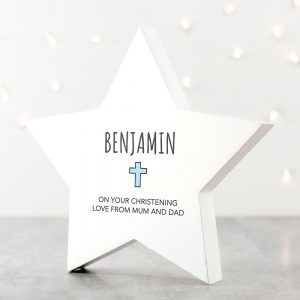 Personalised Christening Star Blue Keepsake