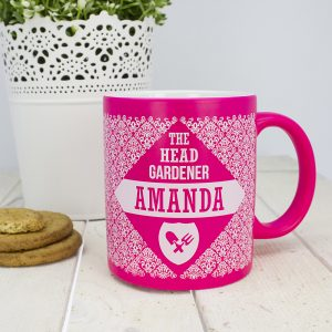 Personalised Floral Patterned Head Gardener Coloured Mug