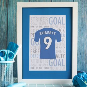 Personalised Football Shirt A4 Framed Print