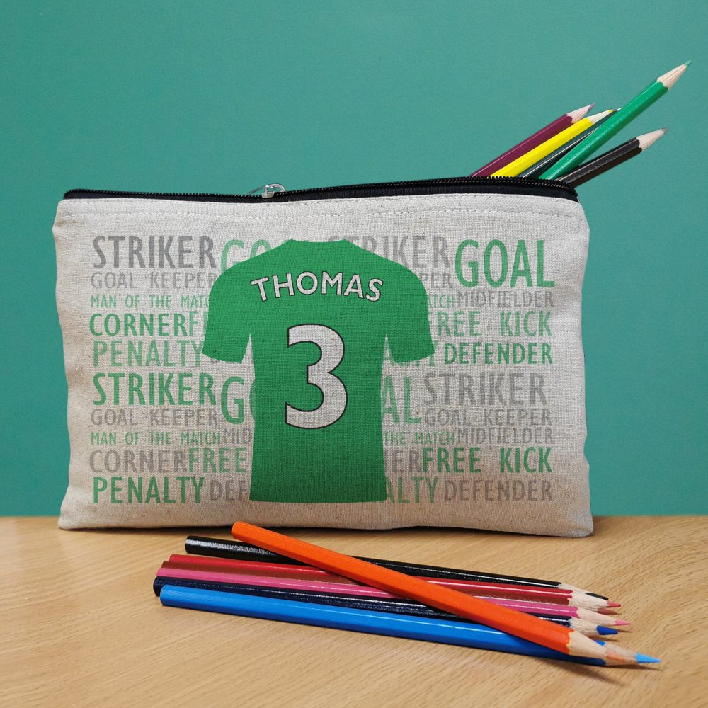 Personalised Football Shirt Pencil Case Love My Gifts