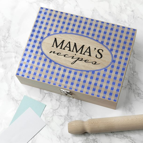 Personalised Gingham Blue Recipe Box