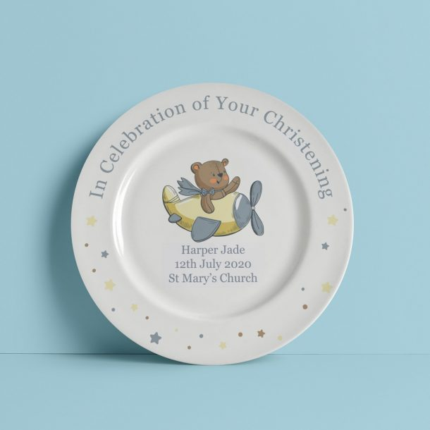 Personalised Little Bear Christening Plate