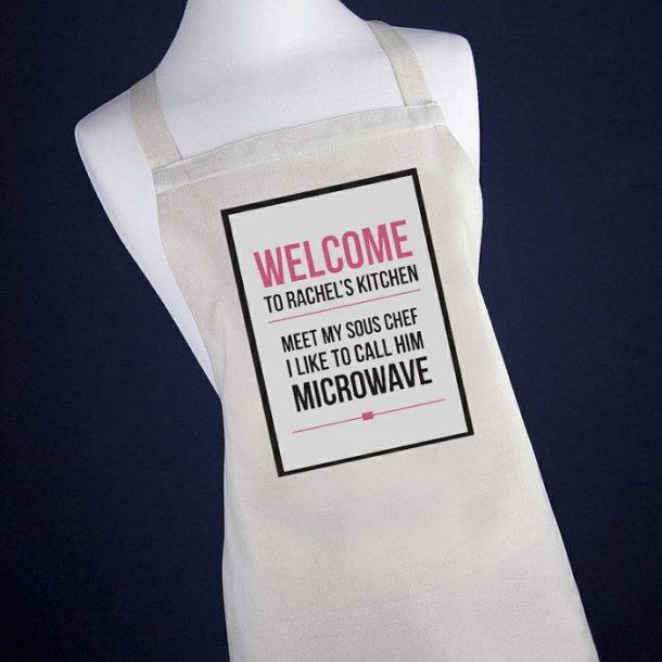 Personalised Microwave Apron - Pink