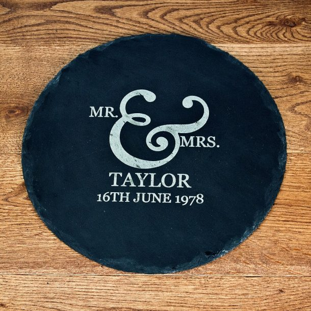 Personalised Mr & Mrs Romantic Round Slate Cheese Board
