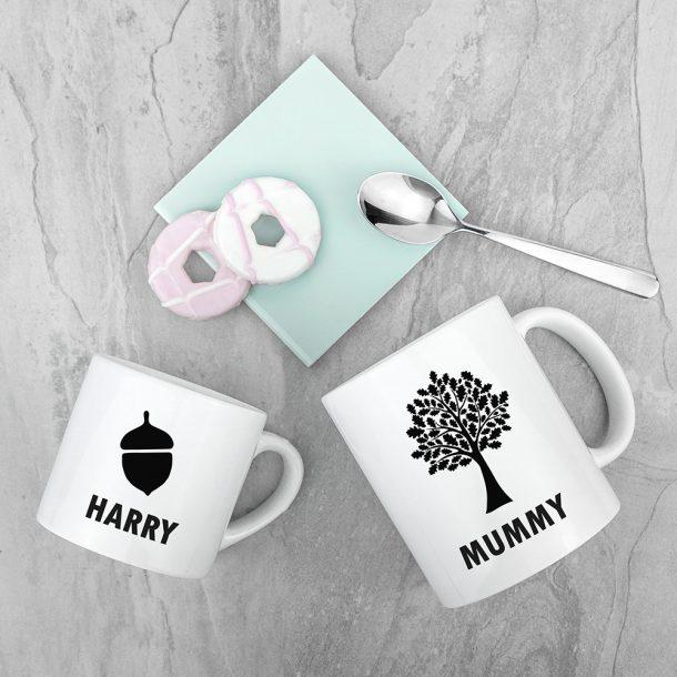 Personalised Mummy & Me Acorn Mugs