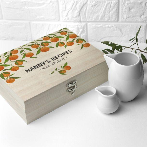 Personalised Orange Grove Recipe Box