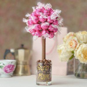 Personalised Pink Strawberries & Cream Lindor Sweet Trees