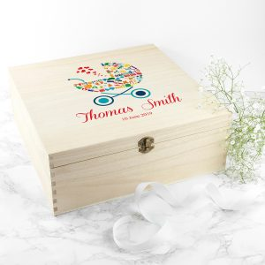Personalised Pram Baby Boy Memory Box