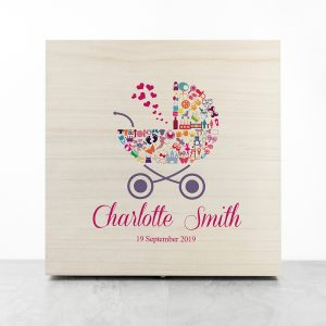Personalised Pram Baby Girl Memory Box