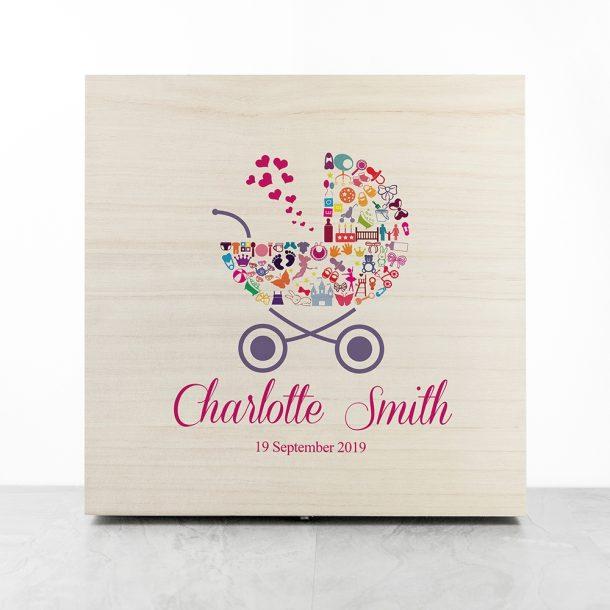 Personalised Pram Baby Girl Memory Box
