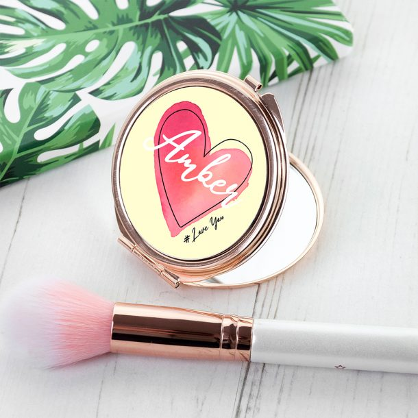 Personalised Rose Gold Heart Compact Mirror