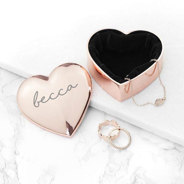 Personalised Rose Gold Heart Trinket Box