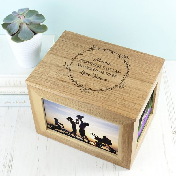 Personalised Thank You Mum Midi Oak Photo Cube Keepsake Box