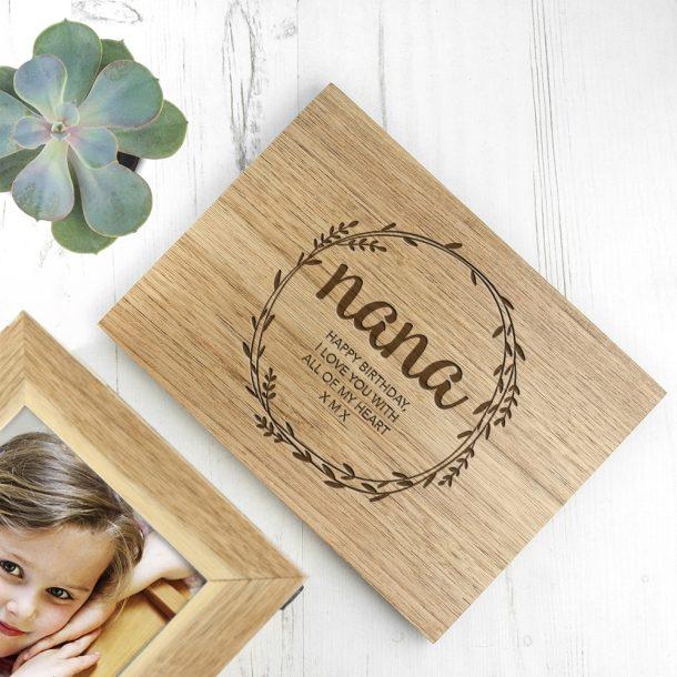 Personalised Wreath Midi Oak Photo Cube Keepsake Box