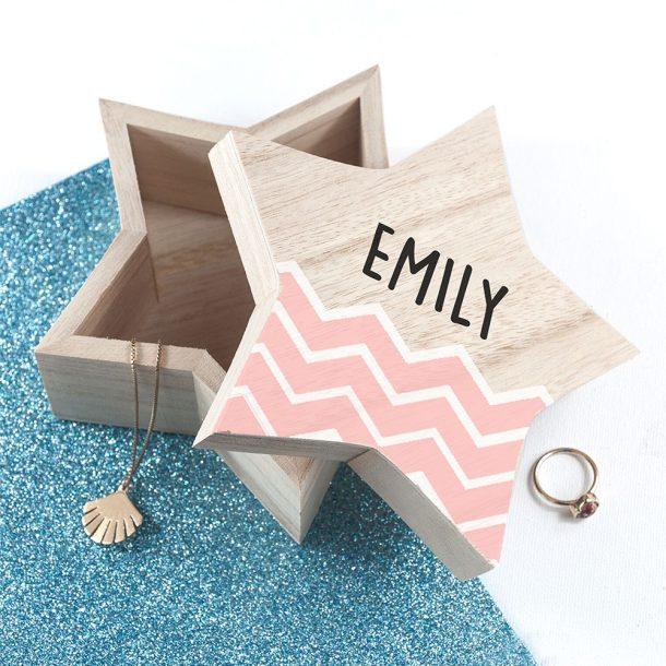 Personalised Zig Zag Star Trinket Box