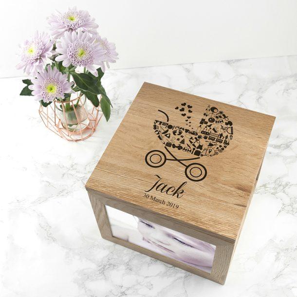Personalised Baby Boy Photo Memory Box