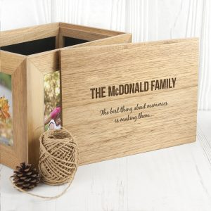 Personalised We Are Family Midi Oak Photo Cube Keepsake Box