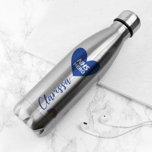 Personalised NHS Hero Silver Water Bottle