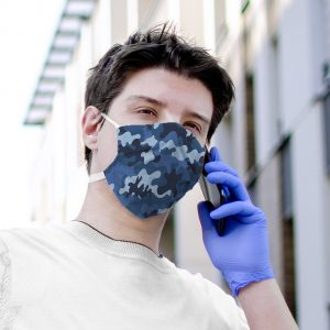 Blue Camo Printed Face Mask