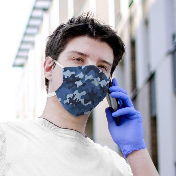 Blue Camo Printed Face Mask