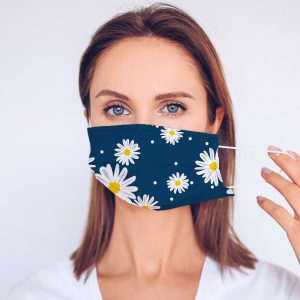 Blue Daisy Printed Face Mask