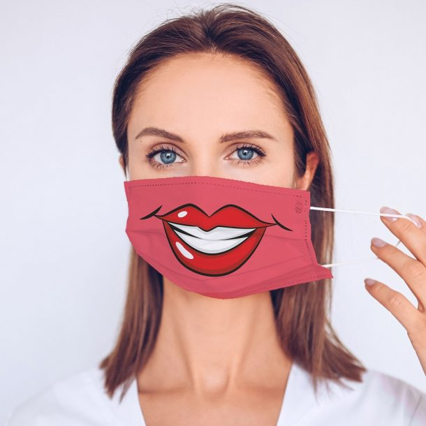 Glam Lips Printed Face Mask