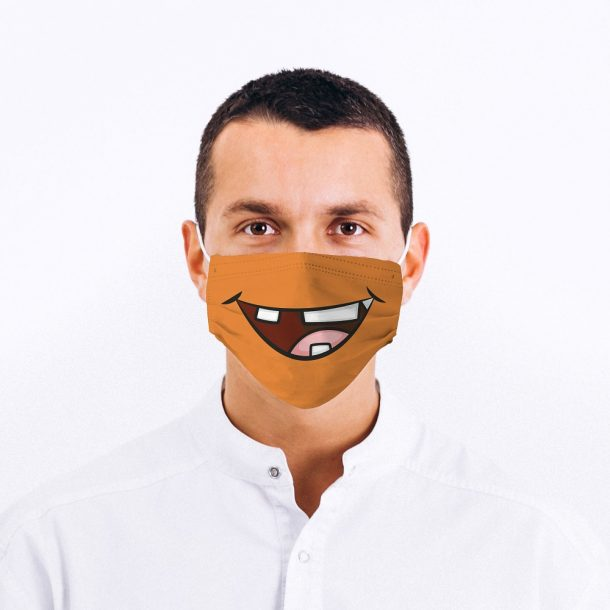 Goofy Mouth Design Printed Face Mask