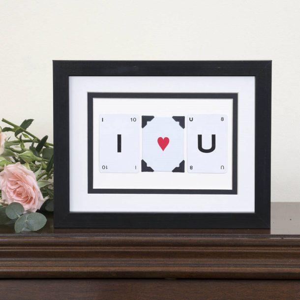 I Heart You Vintage Card Frame