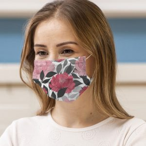 Peonies Printed Face Mask