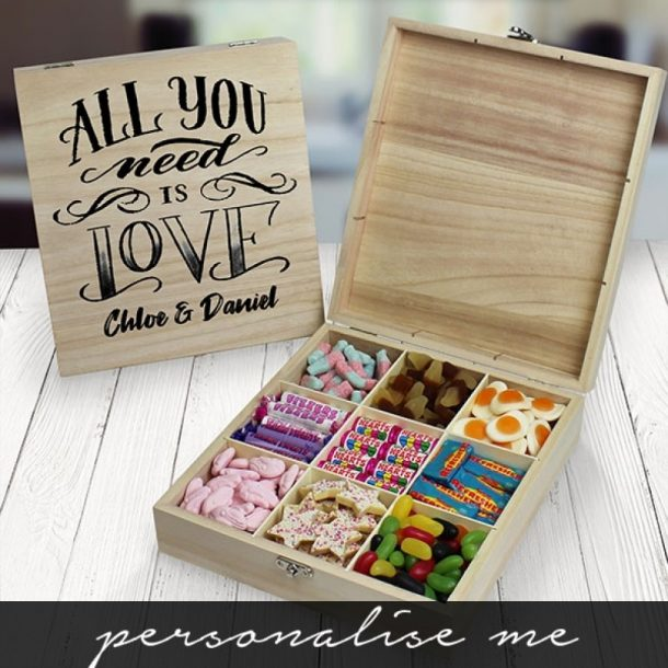 Personalised All You Need Is Love Wooden Sweet Box