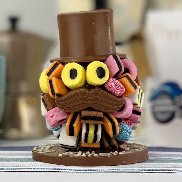 Personalised Allsorts Chocolate Head With Hat And Moustache