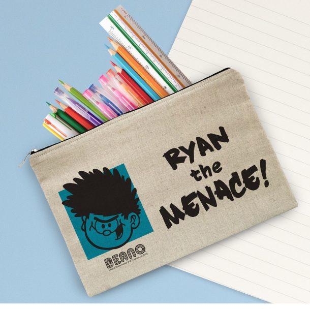 Personalised Beano Big Heads Dennis Canvas Pencil Case