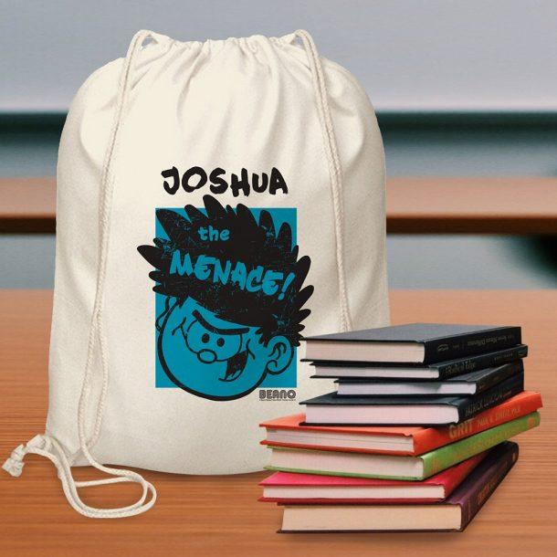 Personalised Beano Big Heads Dennis Drawstring Bag