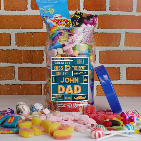 Personalised Best Dad Sweet Jar
