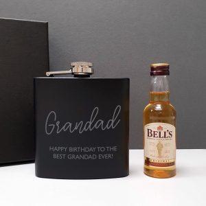 Personalised Black Hip Flask & Miniature Bells Bottle