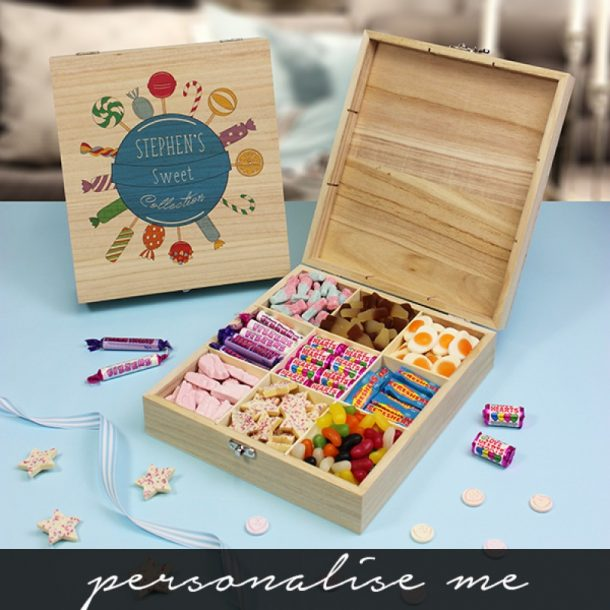 Personalised Blue Collection Wooden Sweet Box