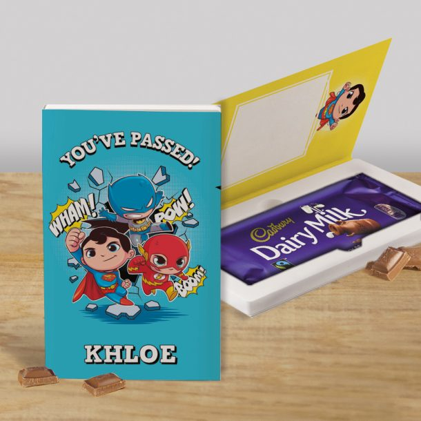 Personalised Blue Super Hero Cadbury's Chocolate Bar Card