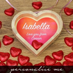 Personalised Chocolate Hearts Wooden Tray