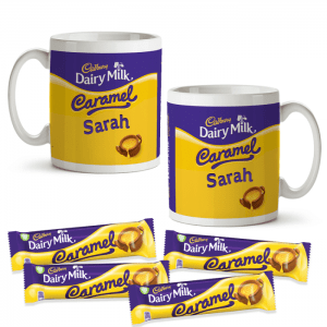 Personalised Dairy Milk Caramel Mug & 4 Dairy Milk Caramel Bars