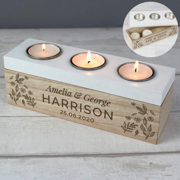 Personalised Floral Triple Tea Light Box