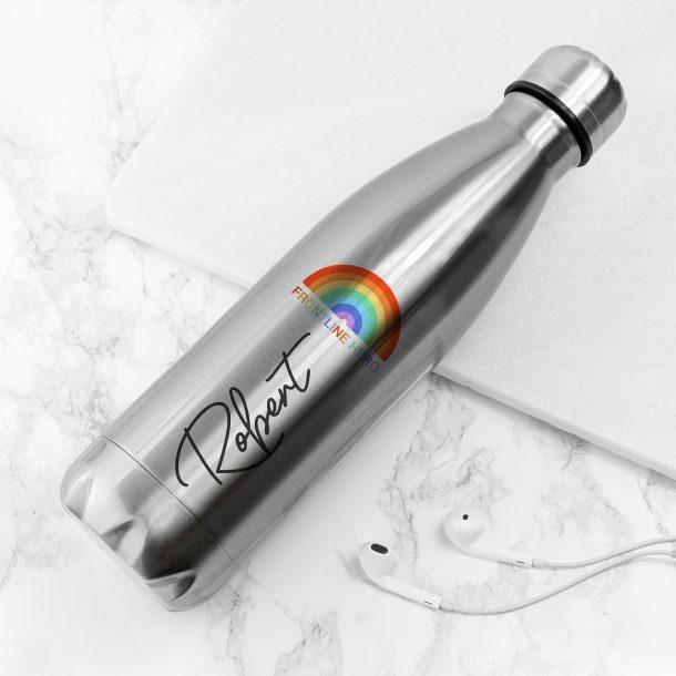 Personalised Frontline Hero Silver Water Bottle