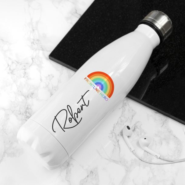 Personalised Frontline Hero White Water Bottle