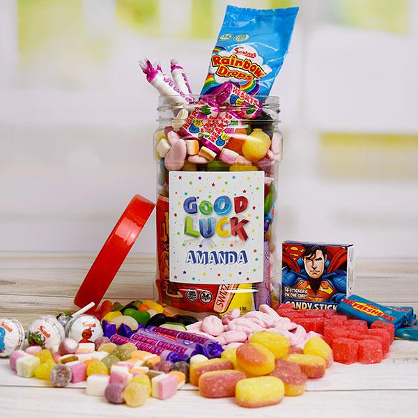 Personalised Good Luck Sweet Jar